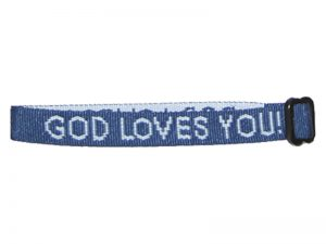 BRACELET WOVEN GOD LOVES YOU DELTA BLUE PK25