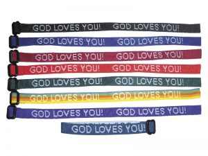 BRACELET WOVEN GOD LOVES YOU ASSORTED COLORS PK150
