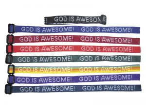 BRACELET WOVEN GOD IS AWESOME ASSORTED COLORS PK150