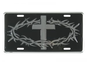 AUTOTAG DELUXE SILVER THORNS & CROSS